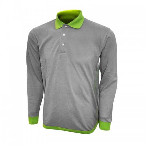 Textured Long Sleeve Honeycombed Polo Tee