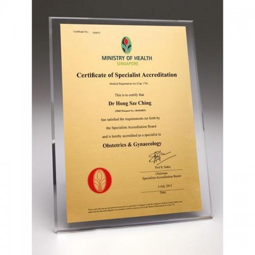 Acrylic Plaque-AMPA-CERT-A4