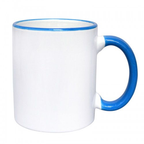 Border Ceramic Mug, Blue