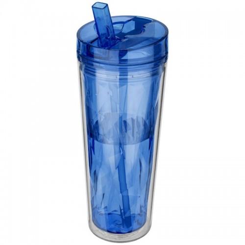 Hot & Cold Flip n Sip Geometric Tumbler 18 oz (blue)