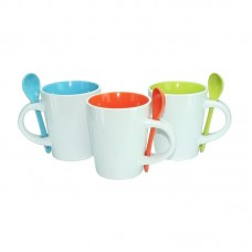 Dual Colour Ceramic Mug with Spoon (310ml)