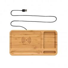 Bamboo desk organiser wireless charger