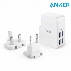 ANKER POWERPORT 4 LITE 27W 4 USB CHARGER EU/UK PLUG WHITE