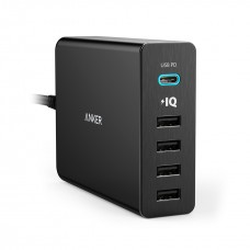 ANKER POWERPORT+ 5 WITH USB C POWER DELIVERY UK PLUG BLACK