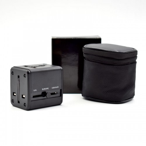 Universal Travel Adaptor With 2 USB in Pouch