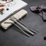 4pcs Straws Box Set - Stainless Steel Reusable Straws with Brush