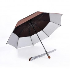 Popular Double Tiered. Auto Open, UV Coated, Windproof Golf Umbrella (Brown)-HKGG231FFW