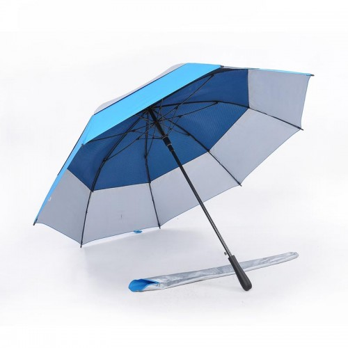 Popular Double Tiered. Auto Open, UV Coated, Windproof Golf Umbrella (Light Blue)-HKGG231FFW