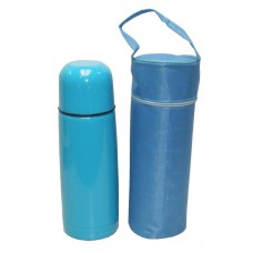 Stainless Steel Double Wall Vacuum Flask with PU Pouch - 350ml