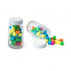 Cube Shape Push Pin in Glass Jar