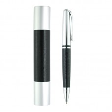 Silver Leather Ball Pen With Tube