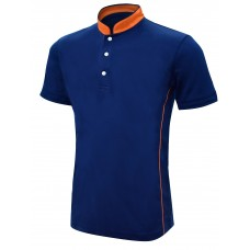 Mandarin Collar Short Sleeve Polo Shirt