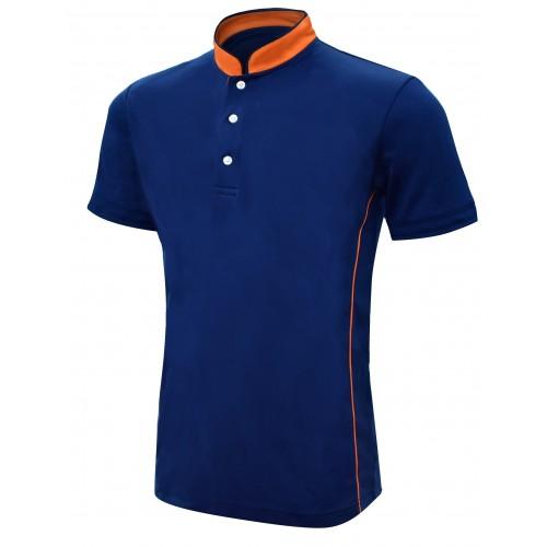 Mandarin Collar Short Sleeve Polo Shirt
